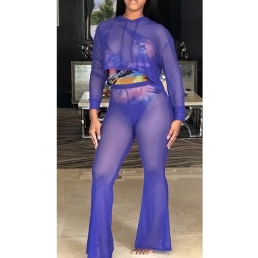 Lovely Euramerican Hooded Collar Mesh See-Through Blue Polyester Two-piece Pants Set(Without Subcoating)