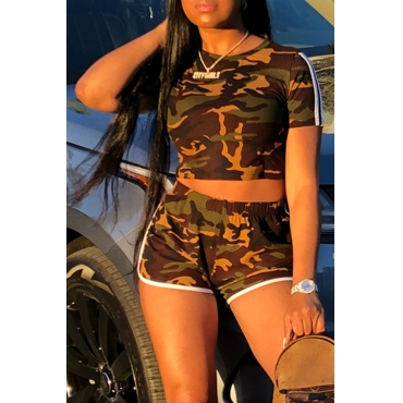 Lovely Euramerican Round Neck Camouflage Printed Coffee Polyester Two-piece Shorts Set