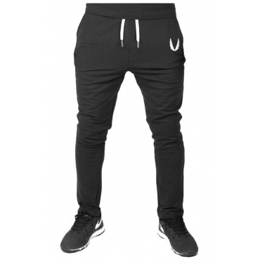 Lovely Casual Mid Waist Drawstring Black Cotton Pants