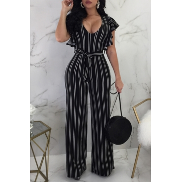 Lovely Stylish V Neck Ruffle Sleeves Striped Black Qmilch One-piece Jumpsuits(With Belt)