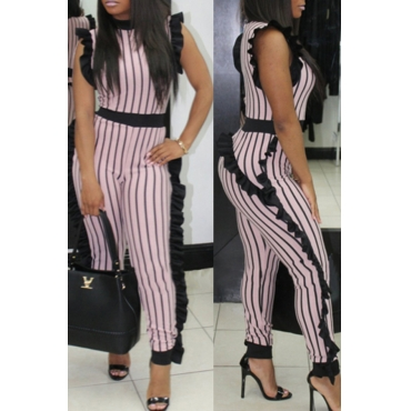 Lovely Sexy Round Neck Ruffle Striped Patchwork Pink Polyester One-piece Jumpsuits