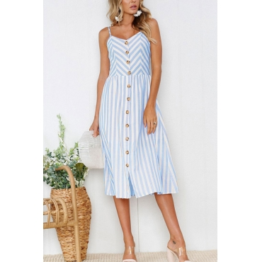 Lovely Fashion V Neck A Breasted Design Blue Stripe Cotton Blend Knee Length Dress