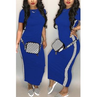 Lovely Fashion Round Neck Grid Printed Royalblue Blending Ankle Length Dress