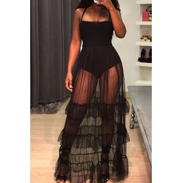 Lovely Trendy Spaghetti Strap Sleeveless See-Through Flounce Black Cotton Blend Floor Length Dress
