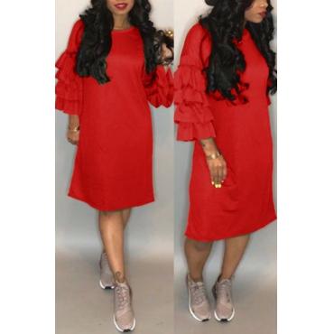 Lovely Pretty Round Neck Flounce Red Blending Knee Length Dress