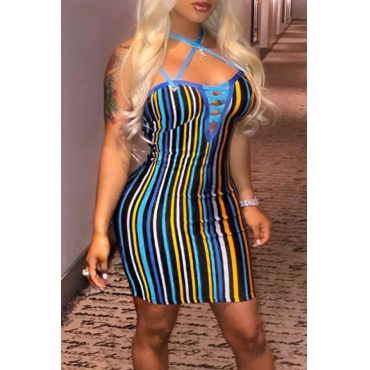 Lovely Fashion Spaghetti Strap Sleeveless Lace-up Striped Baby Blue Blending Mini Dress