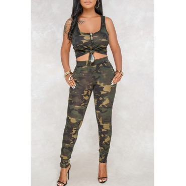 Lovely Casual U Neck Camouflage Printed Army Green Blending Two-piece Pants Set