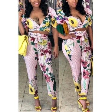 Lovely Fashion V Neck Striped+Floral Printed Polyester Two-piece Pants Set(With Belt)