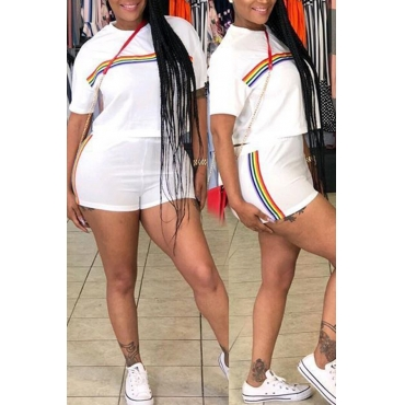 Lovely Trendy Round Neck Rainbow Printed White Polyester Two-piece Shorts Set