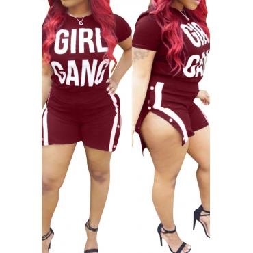 LovelyCasual Round Neck Letters Printed Wine Red Cotton Blends Two-piece Shorts Set