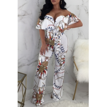 Lovely Chic Bateau Neck Printed Flounce White Cotton Blends One-piece Jumpsuits(With Belt)