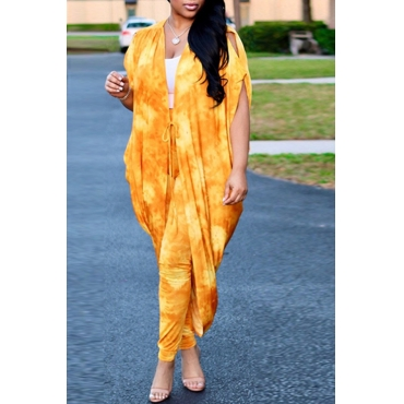Lovely Sexy V Neck Batwing Sleeves Printing Yellow Qmilch Two-Piece Pants Set(Without Subcoating)