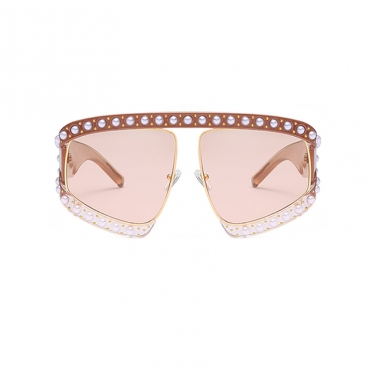 Lovely Fashion Pearl Trim Big Frame Design Coffee PC Sunglasses
