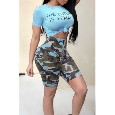Lovely Casual Round Neck Letters Printed Blue Qmilch Two-piece Shorts Set