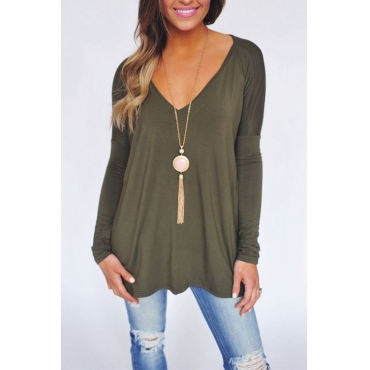 Lovely Casual V Neck Long Sleeves Green Cotton Blends T-shirt
