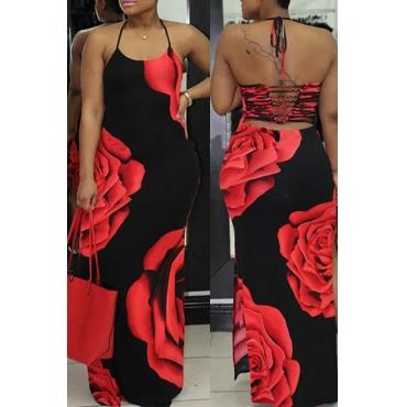 Lovely Euramerican Halter Neck Floral Printed Black Milk Fiber Floor Length Dress