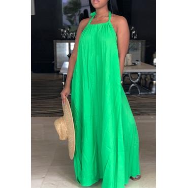 LovelyLeisure Halter Neck Backless Green Polyester Floor Length Dress