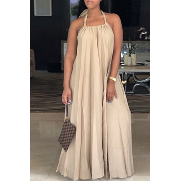 Lovely Leisure Halter Neck Backless Khaki Polyester Floor Length Dress