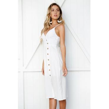 Lovely Trendy V Neck Buttons White Polyester Knee Length Dress