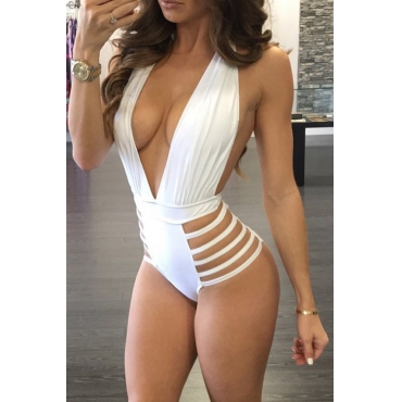 Lovely Polyester Not Padded Solid One Pieces