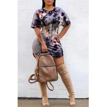 Lovely Twilled Satin Fashion O neck Cap Sleeve Short Sleeve Waist skirt Mini Dresses