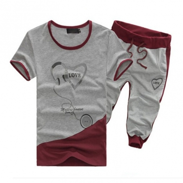 Lovely Casual Round Neck Printed Grey Cotton Two-piece Pants Set for men
