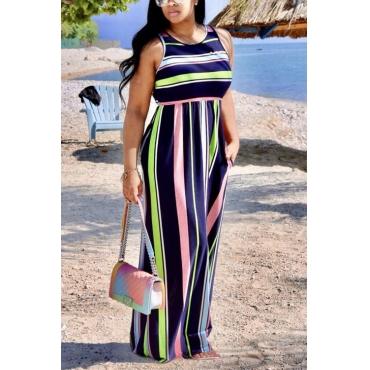 Lovely Cotton Fashion O neck Tank Sleeveless A Line Floor length Dresses