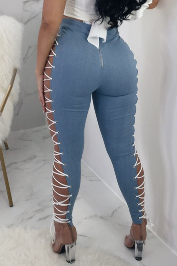 LovelyFashion High Elastic Waist Lace-up Hollow-out Baby Blue Leather Pants