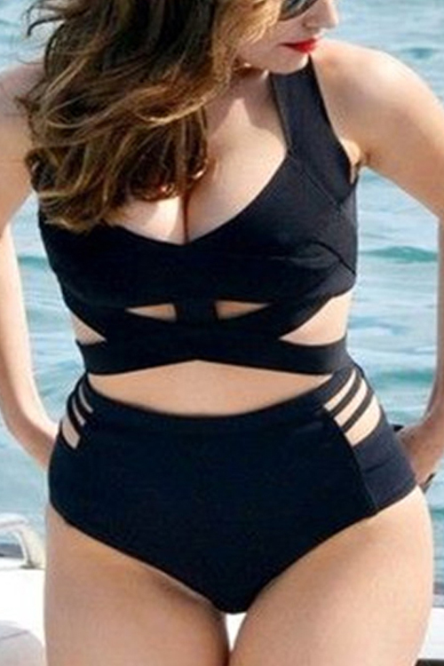 Lovely Polyester Padded Solid One Pieces