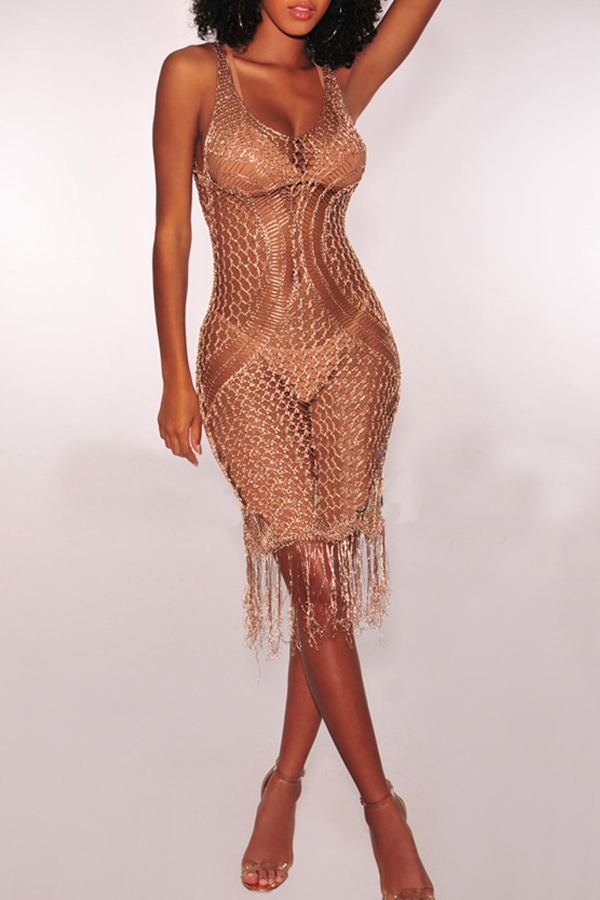Lovely Fashion V Neck Hollow-out Fringe Tassels Rose Gold Polyester Cover-Ups(Without Subcoating)