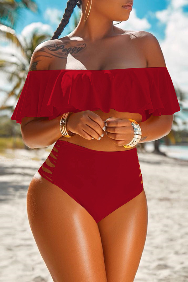 LovelyPretty Bateau Neck Flounce Wine Red Polyester Two-piece Swimwears