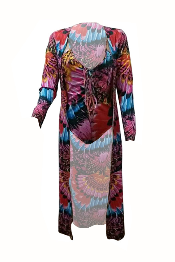 Lovely Fashion V Neck Floral Printed Red Polyester One-piece Swimwears(With Cover-Ups)