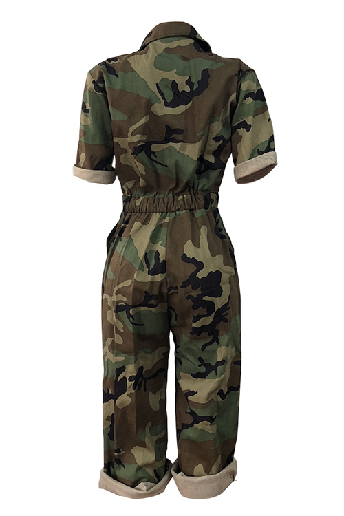Lovely Euramerican  Camouflage Printed Loose Cotton Blends One-piece Jumpsuit