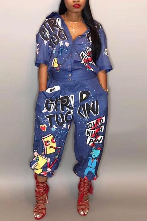 LovelyEuramerican Cartoon Printing Blue Polyester One-piece Jumpsuits