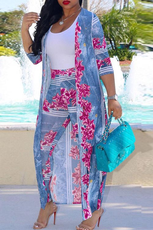 Lovely Euramerican Printed Rose Polyester Two-piece Pants Set
