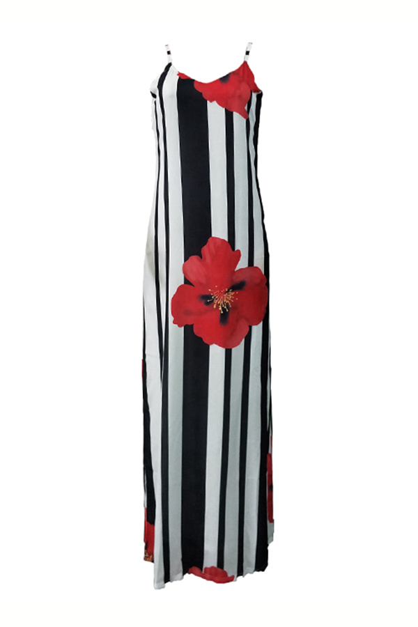 Lovely Casual U Neck Striped+Floral Printed Red Blending Floor Length Dress