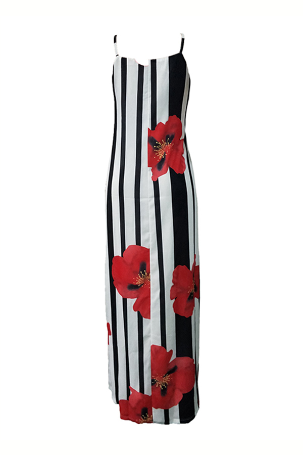 LovelyCasual U Neck Striped+Floral Printed Red Blending Floor Length Dress