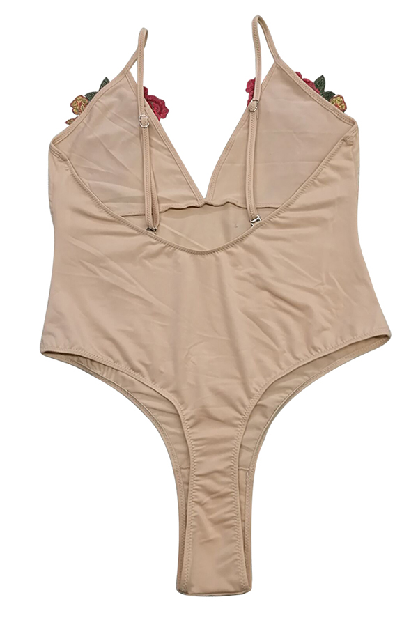 Lovely Chic V Neck Floral Light Camel Polyester One-piece Swimwears
