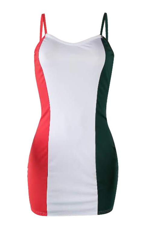 Lovely Sexy V Neck Patchwork Polyester Sheath Mini Dress