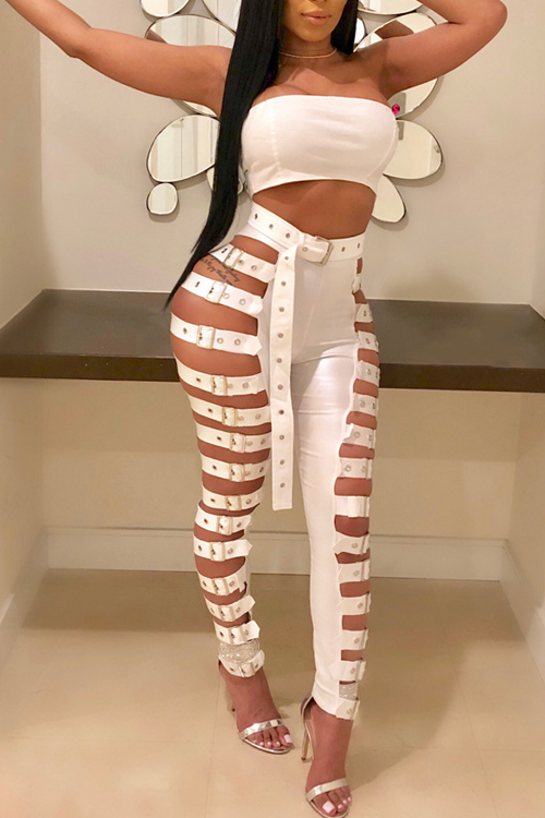 LovelySexy High Waist Hollow-out White Leather Pants