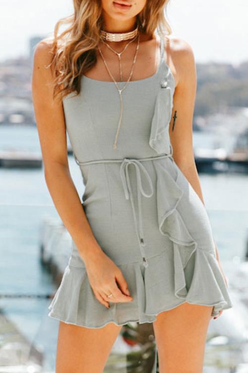 Lovely Fashion Square Neck Flounce Green Cotton Blend Sheath Mini Dress
