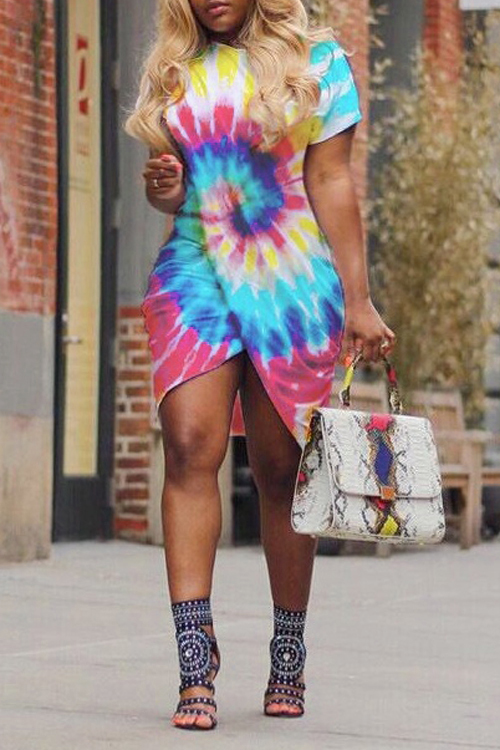 LovelyPolyester Casual O neck  Short Sleeve Bud Mini Dresses