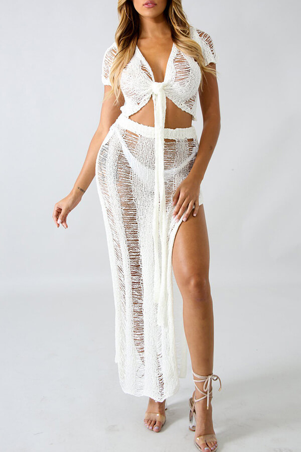LovelyChic V Neck Hollow-out White Cotton Cover-Ups