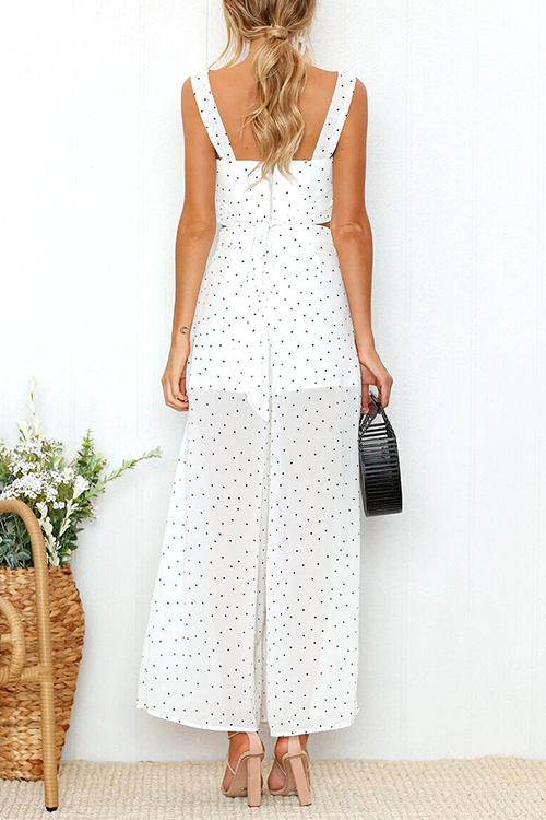 Lovely Fashion Square Neck Dot Printed White Blending Two-piece Pants Set