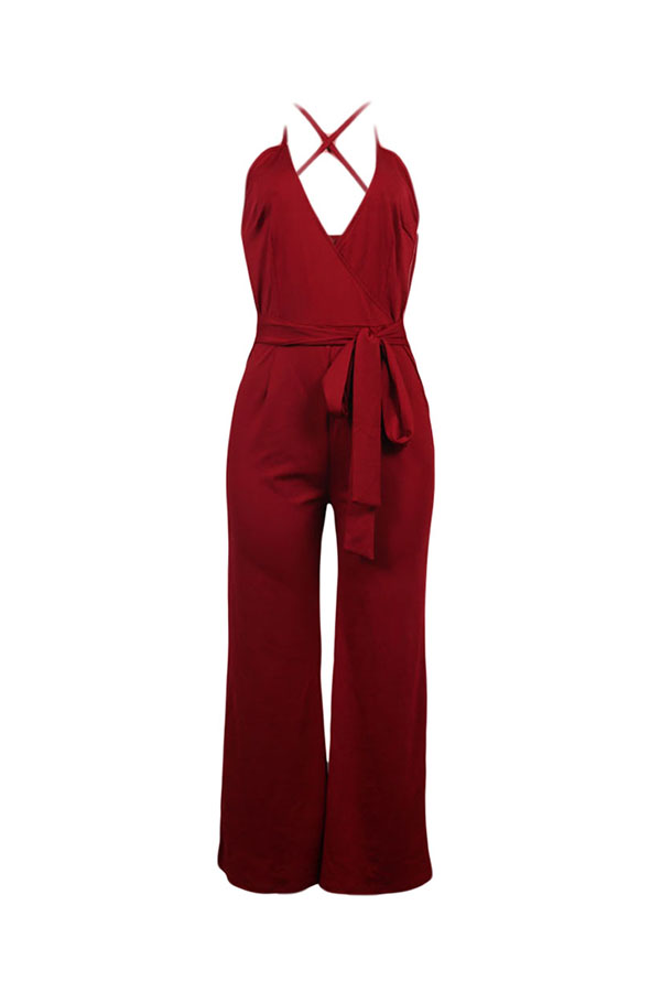 Lovely Elegant V Neck SleeveLess Purplish Red Polyester One-piece Jumpsuit(With Belt)