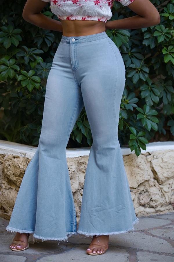 LovelyTrendy High Waist Flared Baby Blue Denim Zipped Jeans