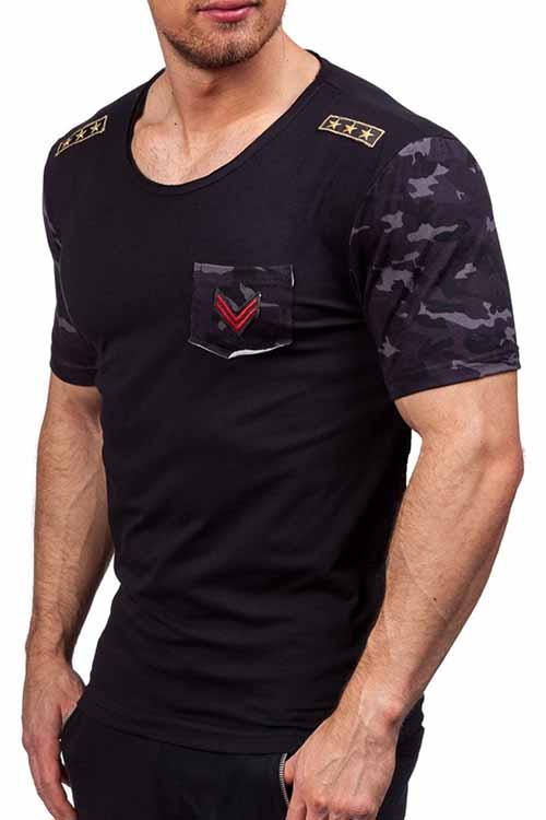 Lovely Casual Round Neck Printing Black Cotton T-shirt for men