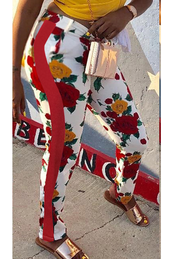 Lovely Fashion Mid Waist Floral Printed Red Polyester Pants