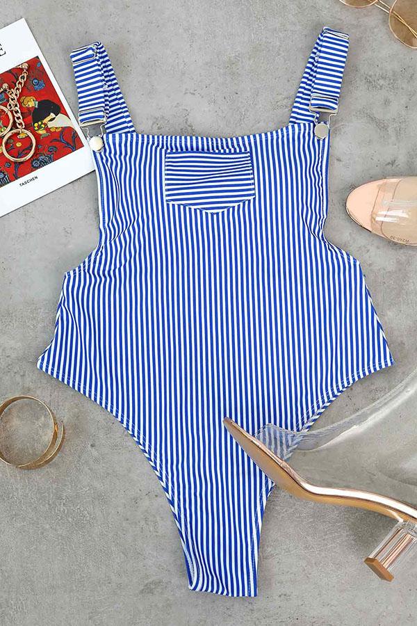 LovelyCasual U Neck Striped Blue Polyester One-piece Swimwears