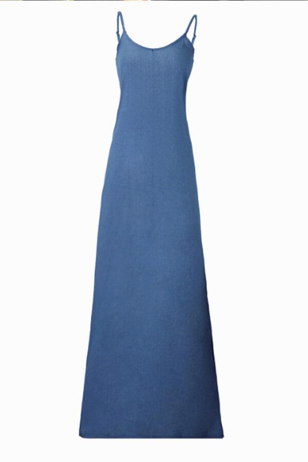 LovelyFashion V Neck Blue Denim Floor Length Dress